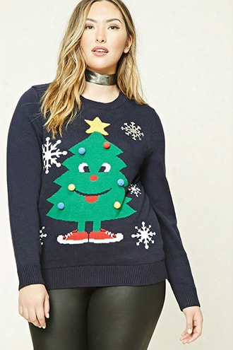 Plus Size Holiday Tree Sweater