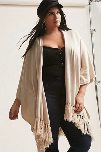 Plus Size May Logan Heathered Tassel Fringe Poncho