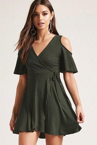 Ribbed Faux-wrap Dress
