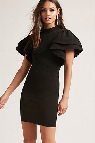 Ruffle-sleeve Mini Dress