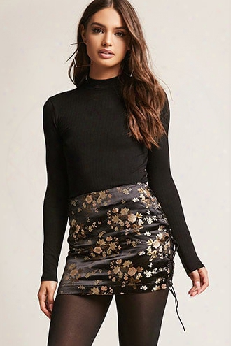 Satin Floral Mini Skirt