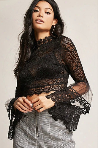 Sheer Crochet Lace Crop Top