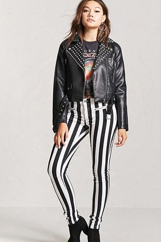Stripped Low-rise Skinny Jeans