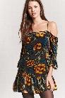 Open-Shoulder Velvet Burnout Dress
