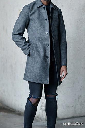 Woolen Tweed Overcoat