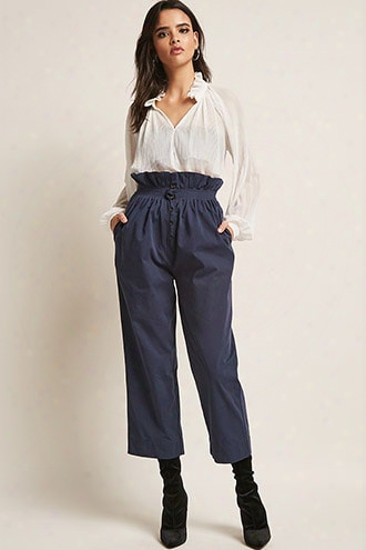 Button-fly Paperbag Capri Pants