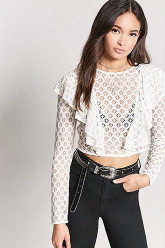 Crochet Lace Ruffle Crop Top