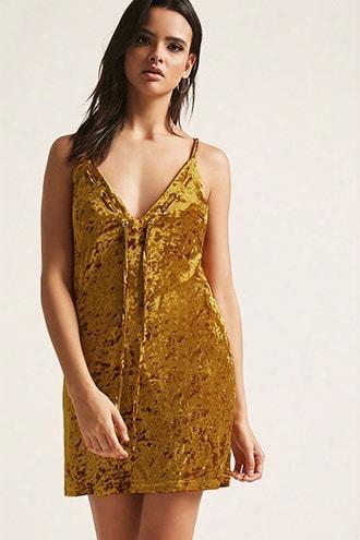 Crushed Velvet Lace-up Cami Mini Dress