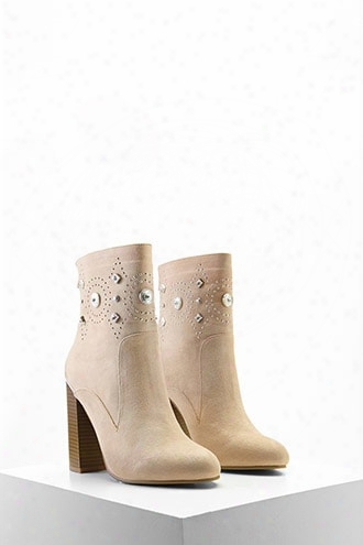 Faux Suede Embellished Boots