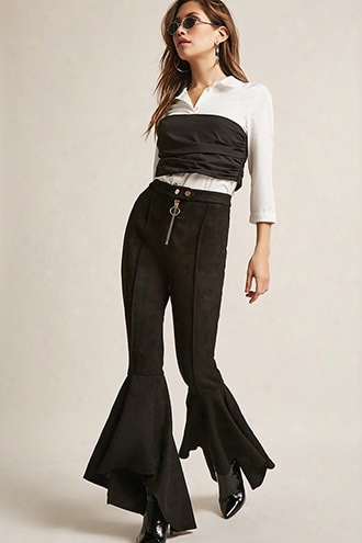 Faux Suede High-low Flared Bell Bottom Pants