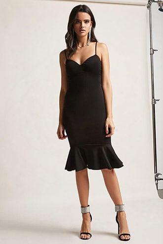 Flounce-hem Bodycon Dress
