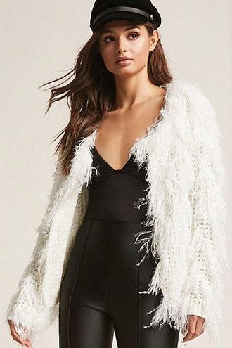 Fuzzy Open-knit Cardigan