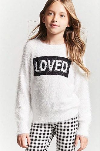 Girls Fuzzy Knit Graphic Sweater (kids)
