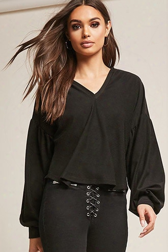 Hooded Balloon Sleeve Top