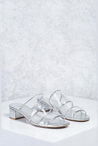 Metallic Lucite Strap Heels