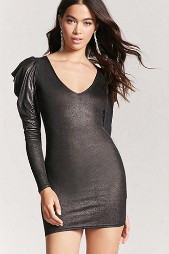 Metallic Puff-sleeve Dress