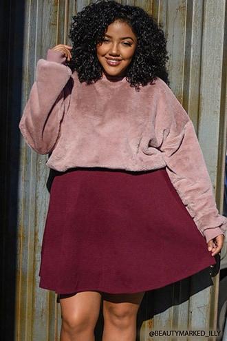 Plus Size Faux Fur Sweater