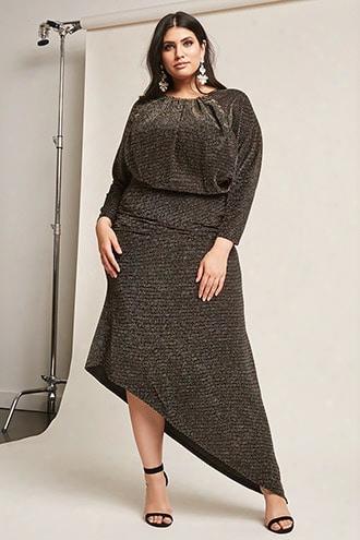 Plus Size Metallic Stripe Maxi Dress