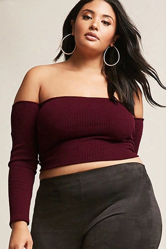 Plus Size Off-the-shoulder Slub Knit Crop Top