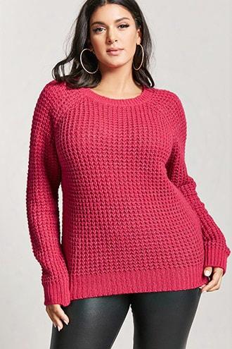 Plus Size Raglan Waffle-knit Sweater