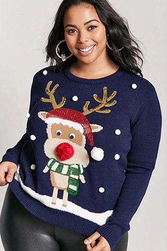 Plus Size Reindeer Graphic Holiday Sweater