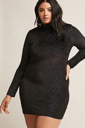 Plus Size Velvet Glitter Polka Dot Bodycon Mini Dress