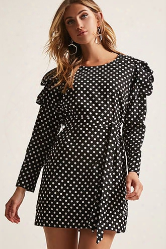 Polka Dot Puff-sleeve Mini Dress