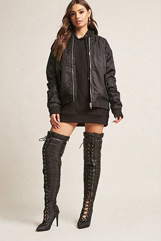 Puffer Lace-up Over-the-knee Boots