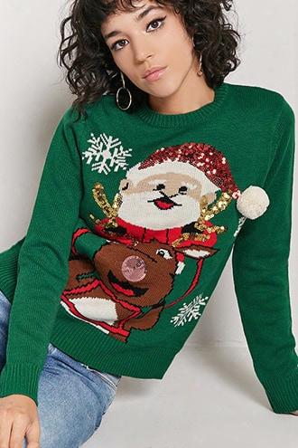 Reindeer & Santa Graphic Sweater