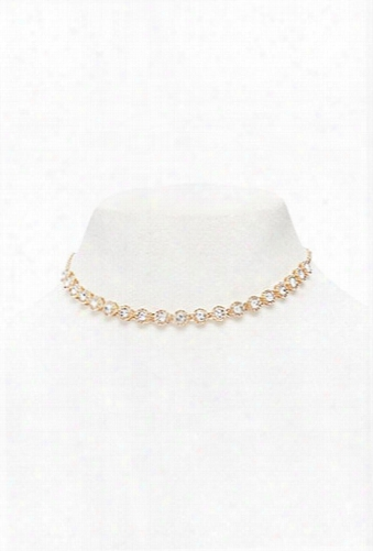 Round Rhinestone Collar Necklace