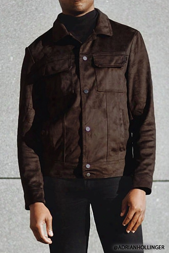 Smooth Faux Suede Trucker Jacket