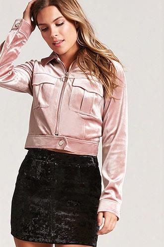 Snap-button Velvet Jacket