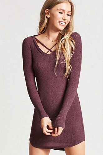 Strappy Ribbed Knit Mini Dress