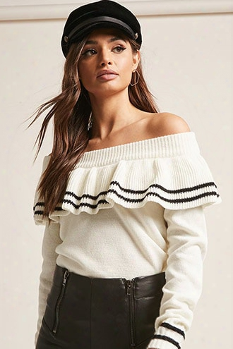 Stripe Flounce Off-the-shoulder Sweater