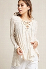 Hooded Knit Lace-Up Top