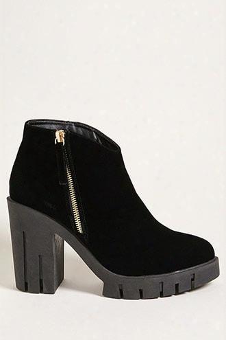 Velvet Lug Ankle Boots