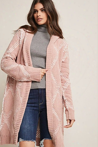 Chenille Contrast Open-front Cardigan