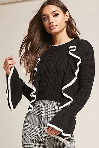Contrast Ruffle Sweater