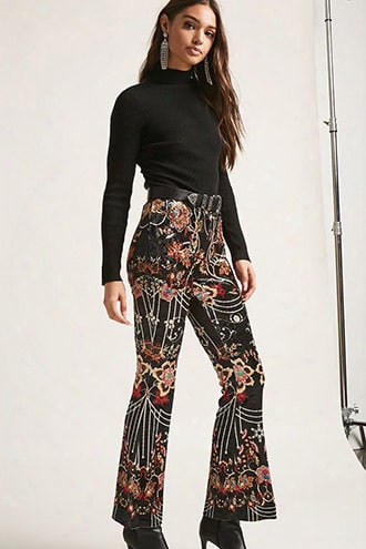 Crushed Velvet Floral & Bead Print Pants