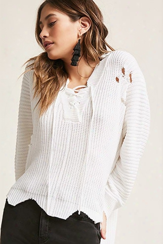 Distressed High-low Sweater