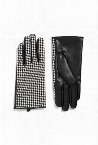 Faux Leather Houndstooth Gloves