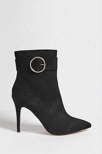 Faux Suede Buckle Ankle Boots