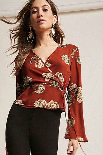Floral Bell-sleeve Wrap Top