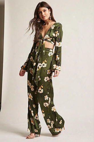 Floral Satin Crop Top & Pants Set