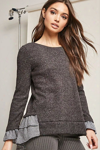 Gingham-trim Brushed-knit Top