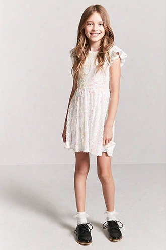 Girls Sheer Mesh Ruffle-sleeve Sequin Dress (kids)