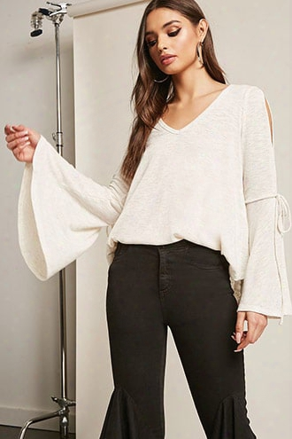 Heathered Open-shoulder Bell-sleeve Top