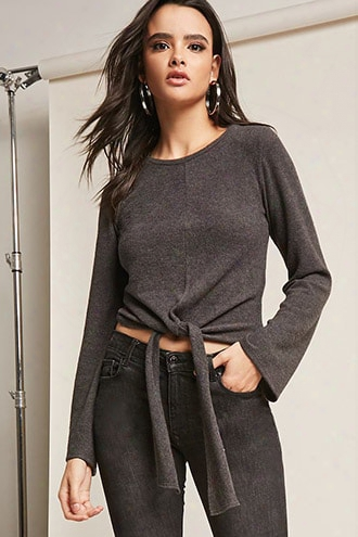 Heathered Tie-front Knit Top