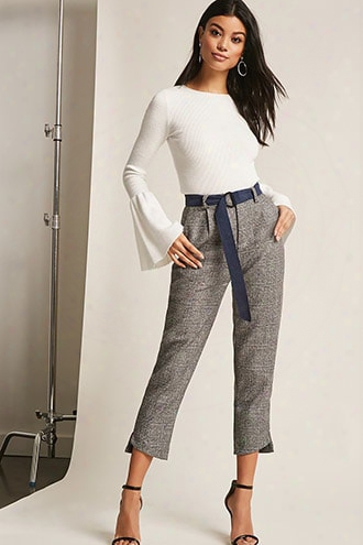 High-waist Glen Plaid Pants