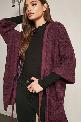 Marled Open-knit Cardigan